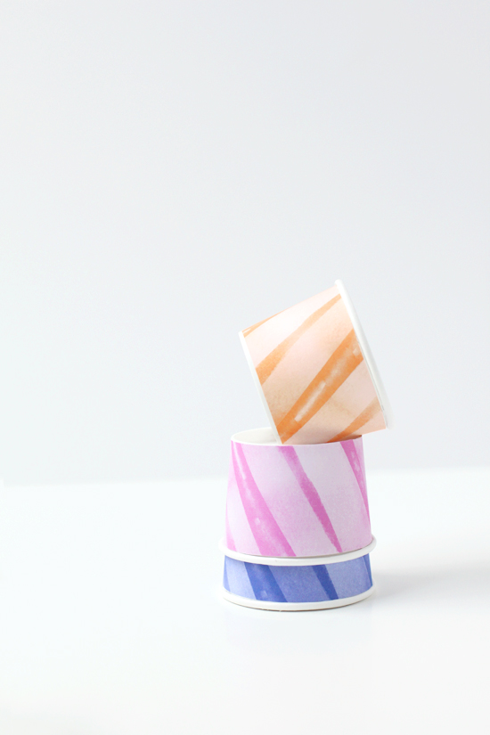 diy bubblegum machine paper cups with rainbow wrap