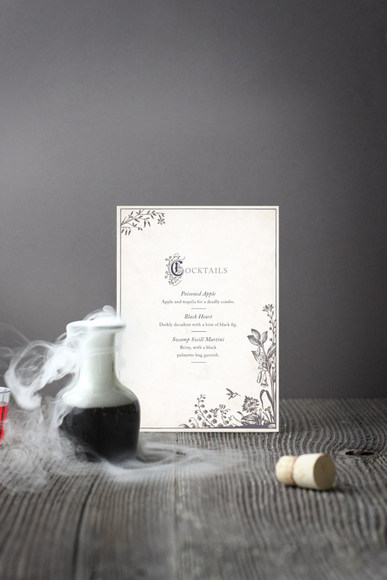 storybook menu styled for halloween cocktails