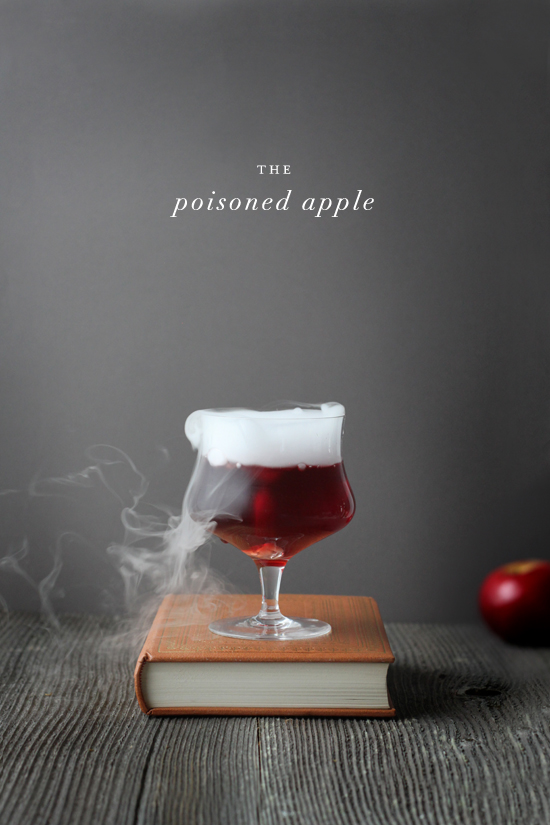 Poisoned apple halloween cocktail with dry ice by kelli hall