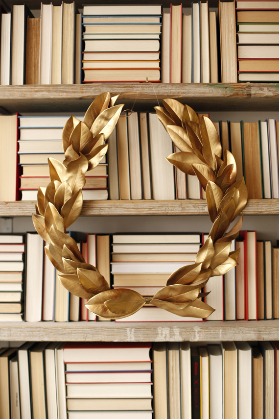 DIY Gold Holiday Wreath with Fresh Leaves