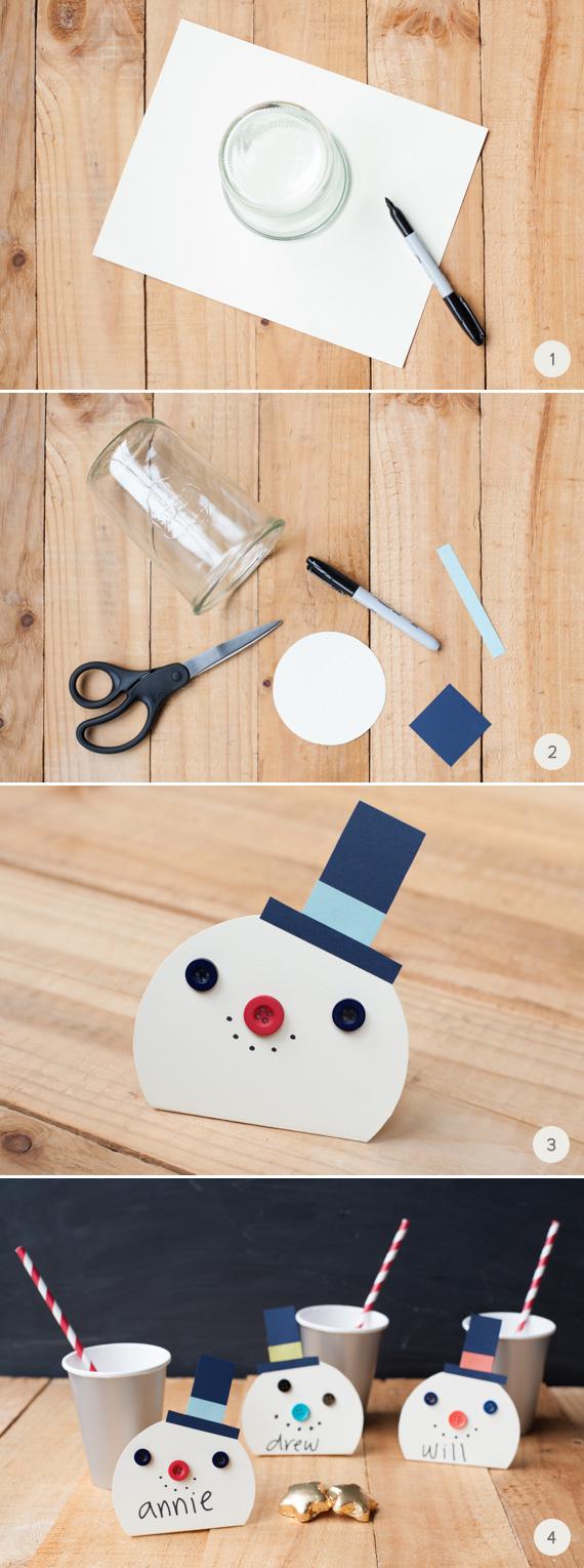 Snowman Christmas Cards Diy.Diy Snowman Place Cards Julep