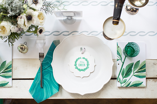 green holiday dinner tabletop