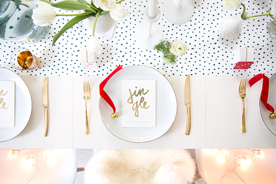 snow dot holiday tabletop and place setting