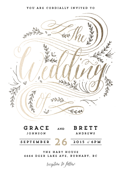 Wedding invitation challenge special prize winners julep garden flourish brings a clean yet rustic feel to an elegant wedding invitation the curvilinear design and airy typeface of this piece remind us of a warm stopboris Images