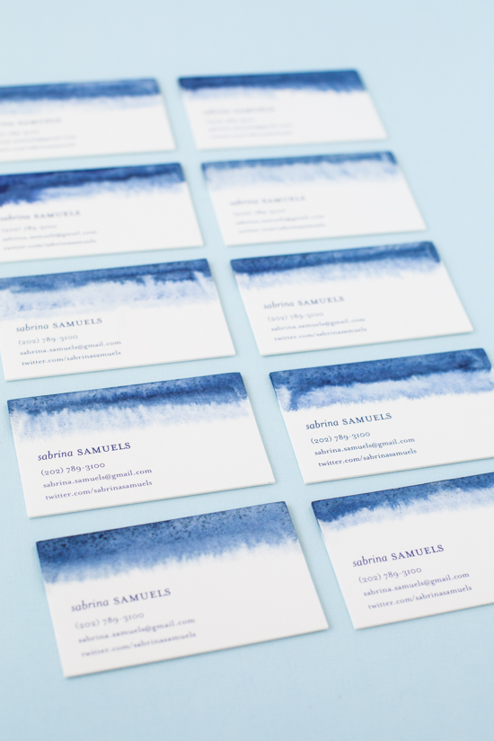 Diy Indigo Dip Dyed Business Cards Julep