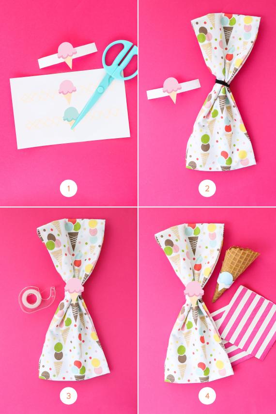 Diy Printable Ice Cream Cone Napkin Rings Julep