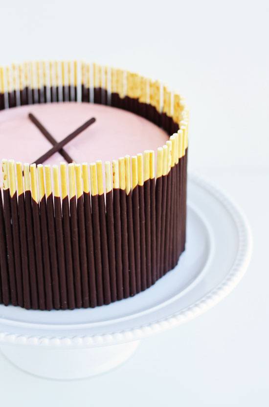 chocolate cake pink buttercream pocky