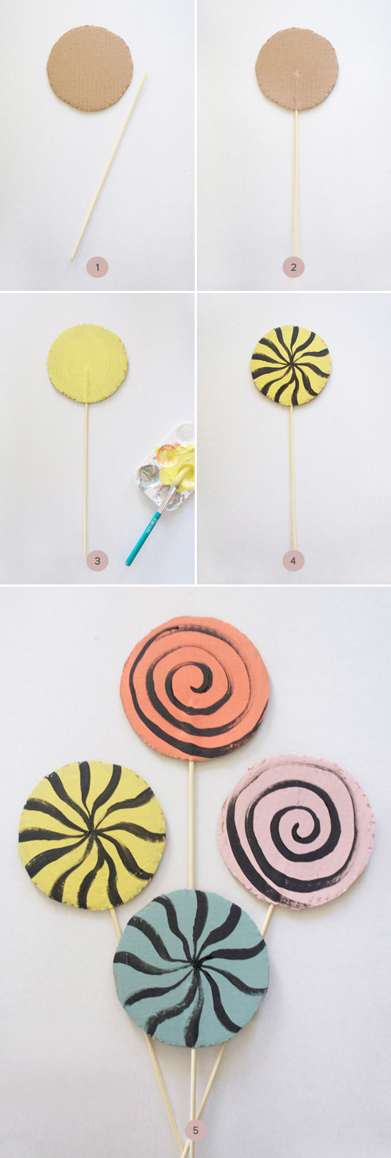 Diy Make A Set Of Play Lollipops Out Of Cardboard Julep