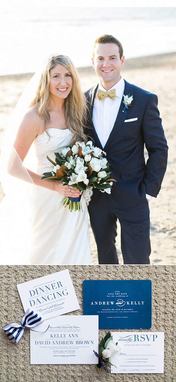 Minted Real Wedding | Classic Blue-and-White Beach Wedding