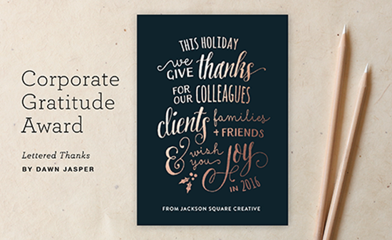 For the card that best communicates gratitude to customers lettered thanks by dawn jasper