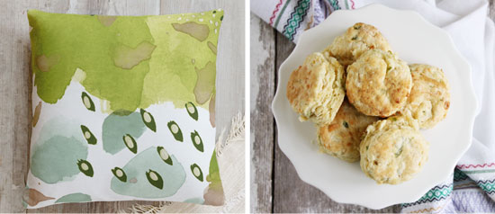 cheddar scallion biscuits and new throw pillows by Minted Home