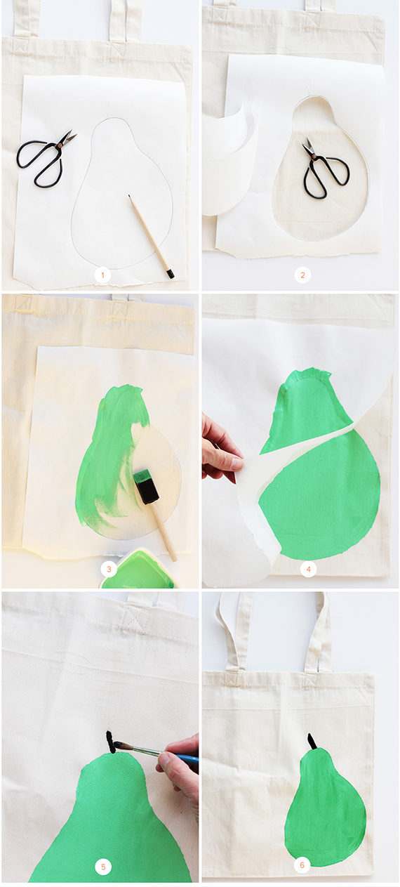DIY Stenciled Pear Tote Bag | alice & lois for minted