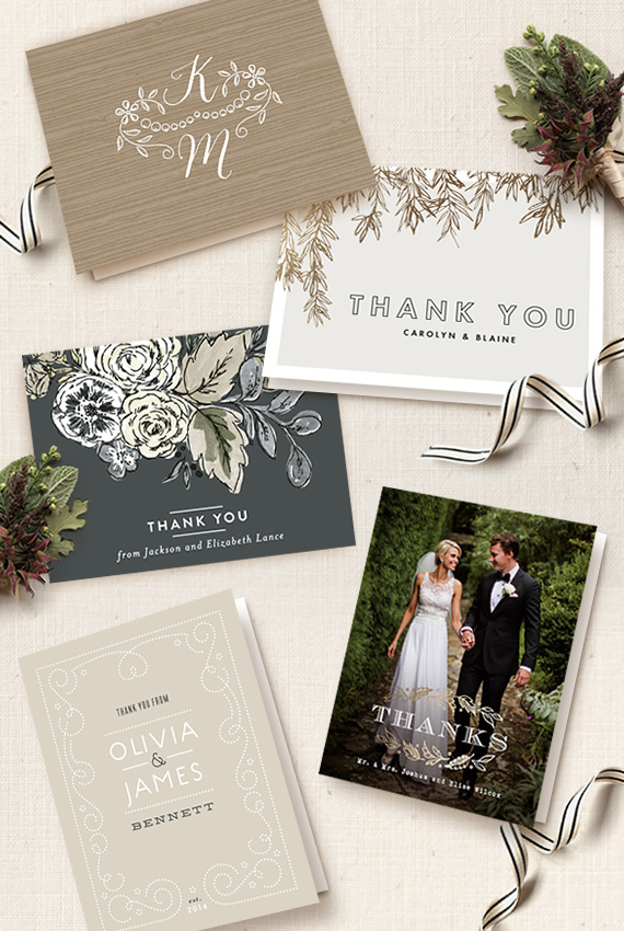 Etiquette For Sending Wedding Gift Thank You Notes : From top: ? Woodland Initials ? by Lehan Veenker; ? Olive ...