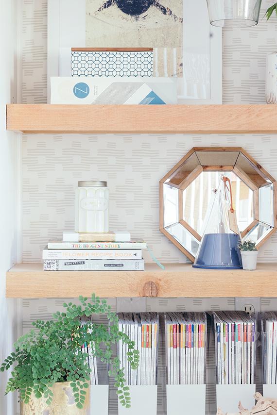 DIY Easy Fabric Wallpapered Bookshelf