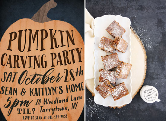 pumpkin carving party invitations and pumpkin chocolate chip snacking cake