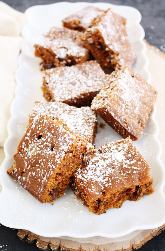 pumpkin spice snacking cake with milk chocolate chips