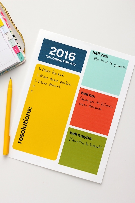 printable new year resolutions sheet