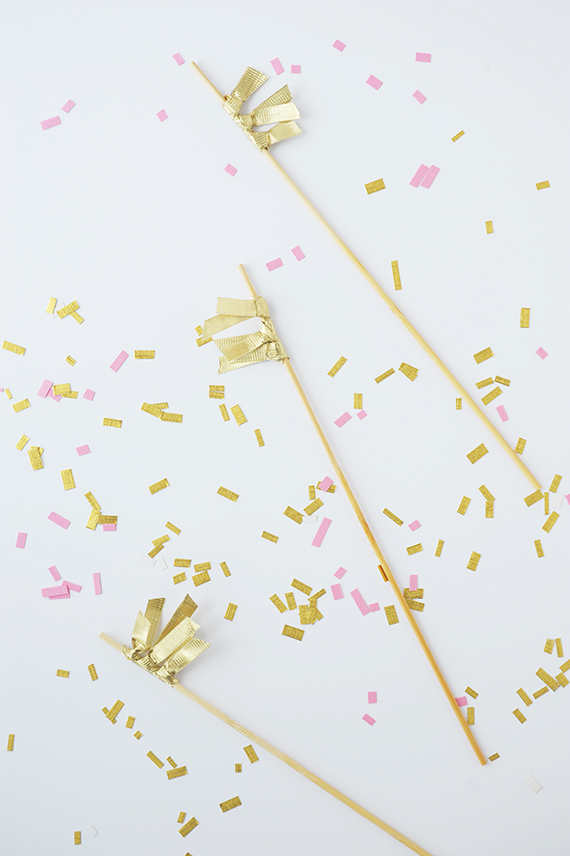 Make these gold DIY ribbon drink stirrers in under five minutes!