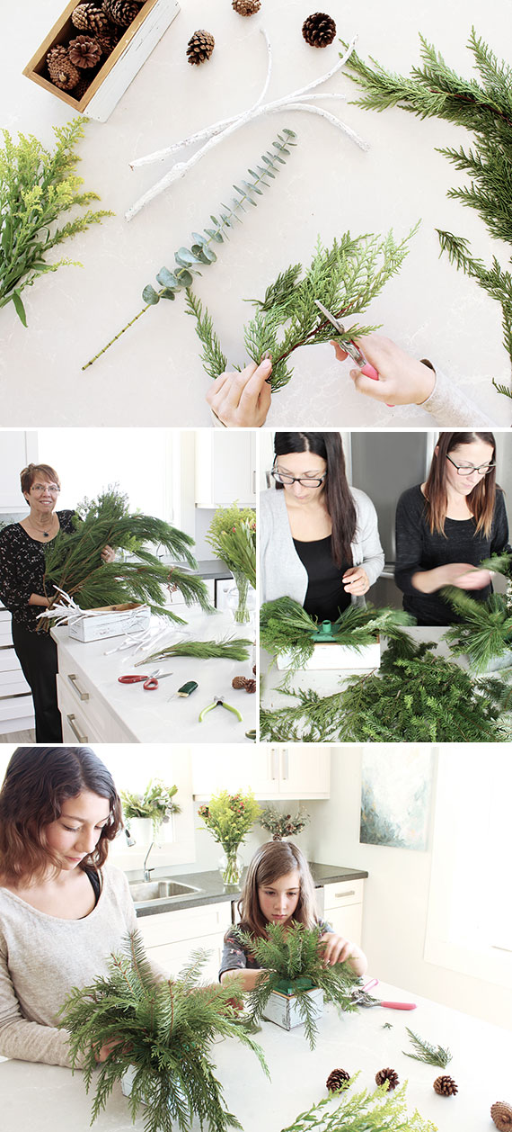easy christmas centerpiece idea fresh greenery - Fresh Christmas Greenery