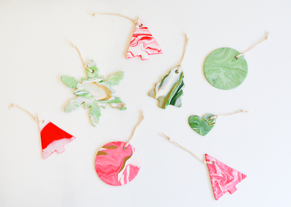 Marbled clay Christmas ornaments.