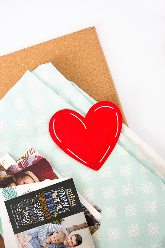 How To Display Holiday Cards: Fabric-Covered Cork Board