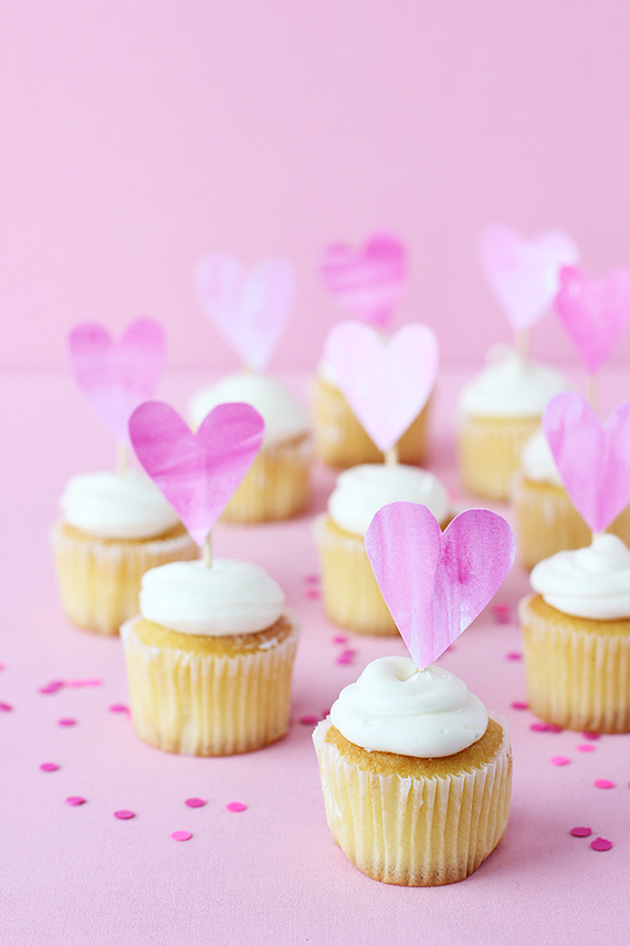 DIY Valentine Watercolor Heart Cupcake Topper | alice & lois for minted