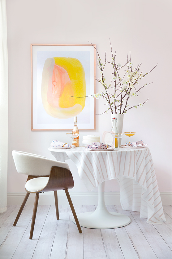 spring pollen and rose quartz inspired brunch table by kelli hall