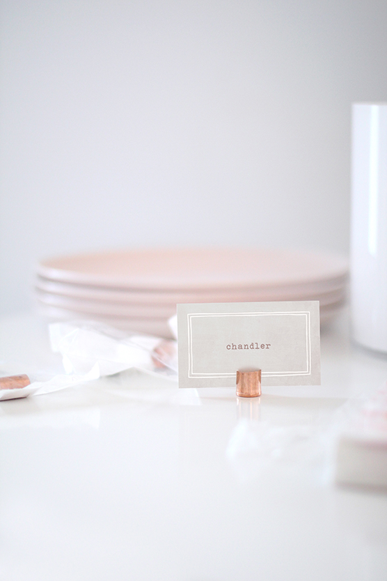 spring pollen and rose quartz inspired brunch table by kelli hall, copper piping place card holder