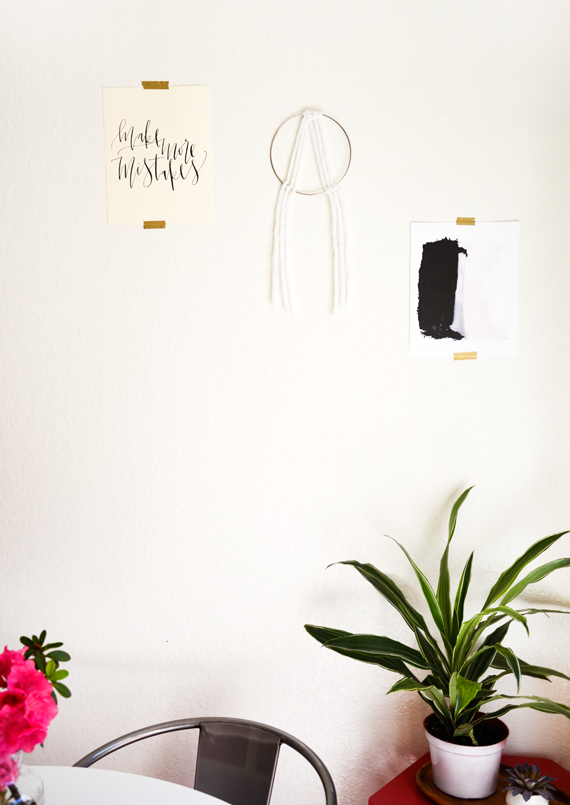 DIY brass ring and yarn wall hanging