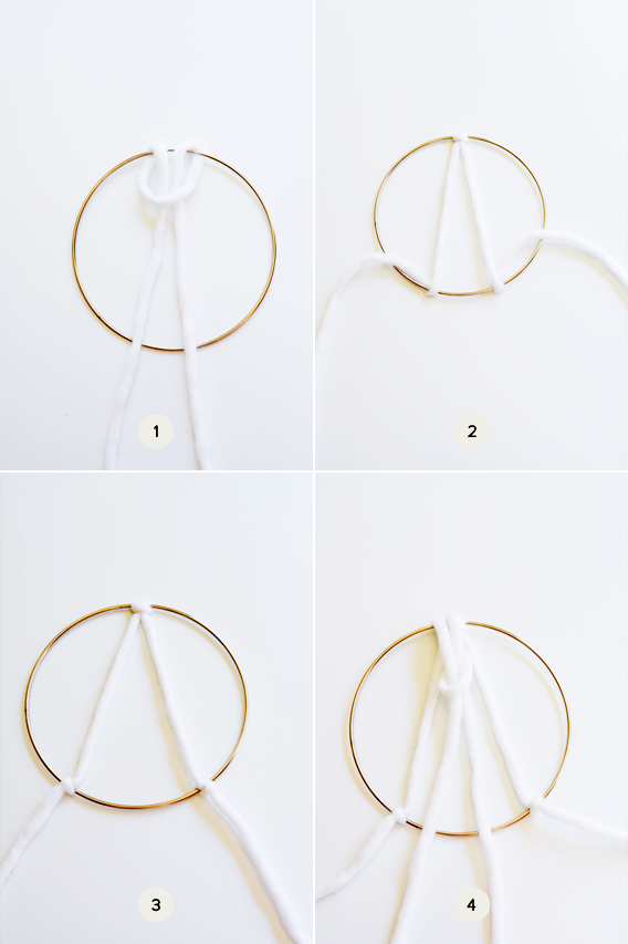 How to make a wall hanging with brass ring and yarn.