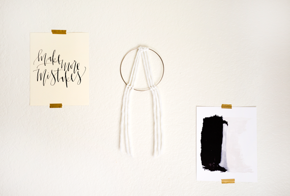 Easy wall hanging idea with brass ring and yarn