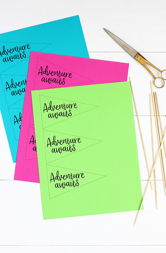 Adventure Awaits Free Printable Pennant Flags and DIY garland