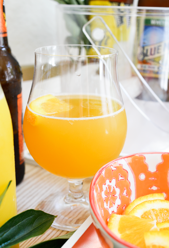 Beer and orange juice make the best Dadmosa cocktail for Father's Day brunch.
