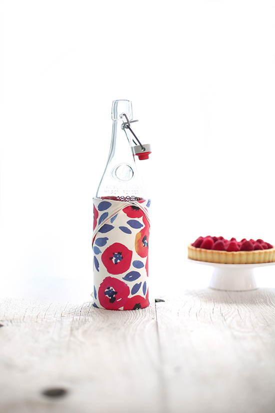 fabric wrapped bottle, july fourth table styled for minted by kelli hall