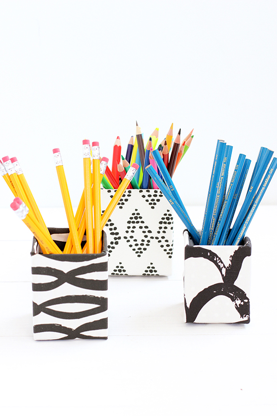 DIY Fabric-Covered Pencil Cup