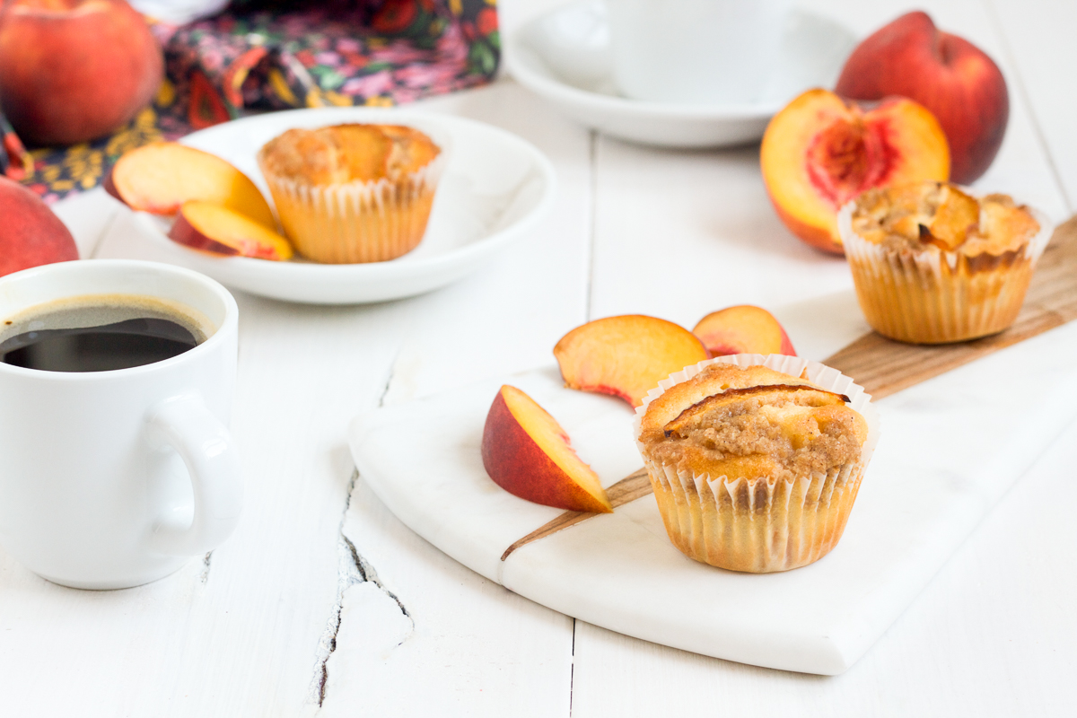 Make these delicious peach crumb muffins for breakfast, brunch, or afternoon tea!