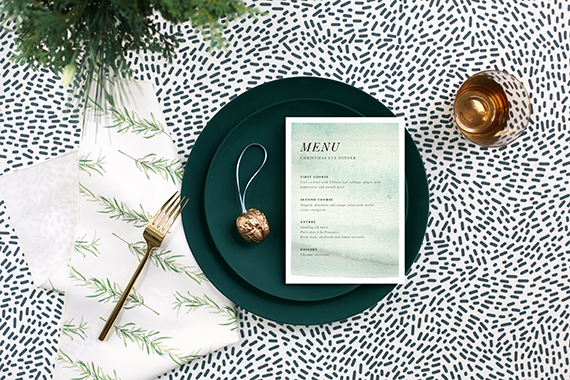 evergreen inspired holiday tabletop for minted by kelli hall
