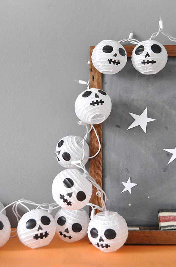 DIY Halloween Paper Lantern Skulls