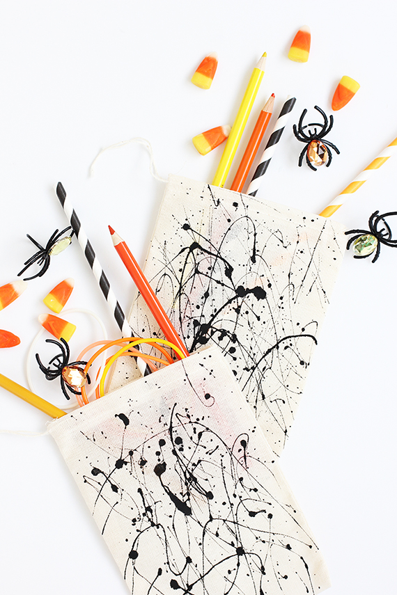 DIY Splatter Paint Halloween Treat Bags | alice & lois for minted