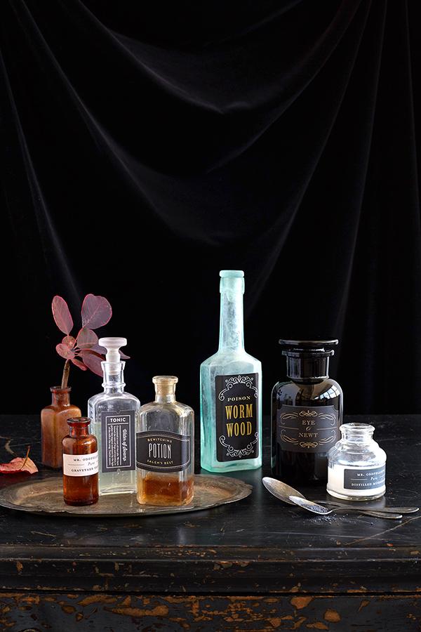 Halloween Bewitched Bottles DIY