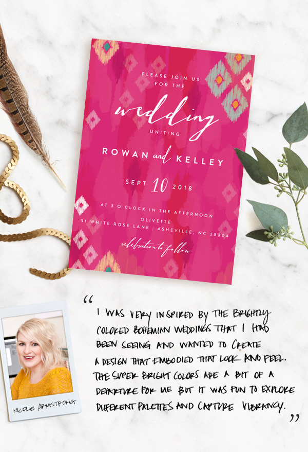 Boho Ikat wedding invitation from Minted