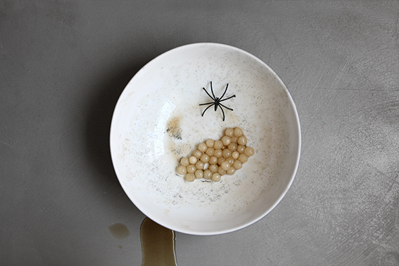 spider sac garnish made from tapioca pearls and vanilla bean paste