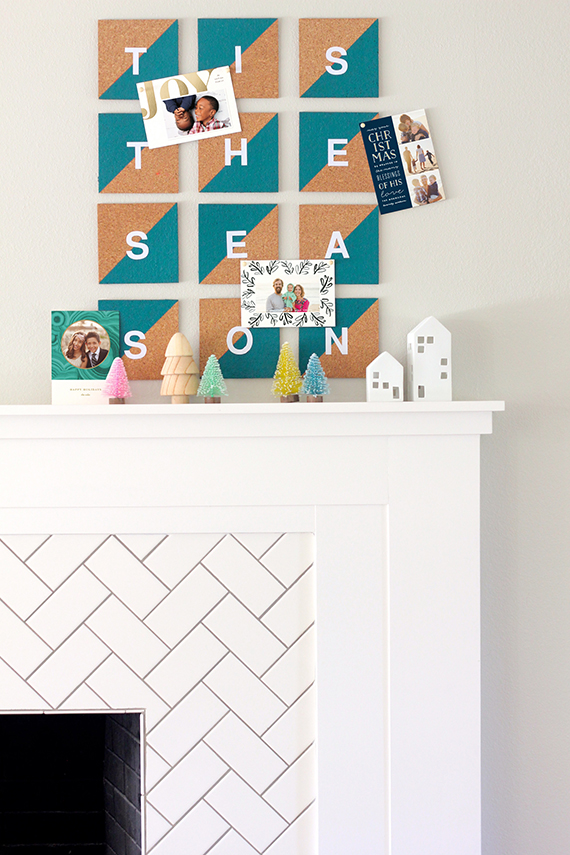 DIY Christmas Card Display: Painted Cork Tiles