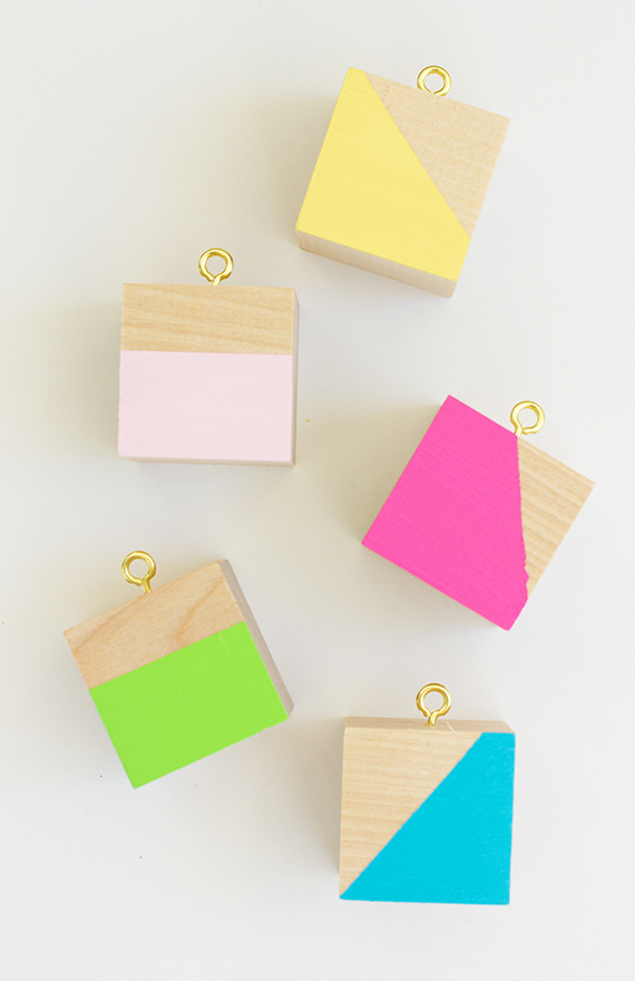 DIY Color Block Wood Ornaments