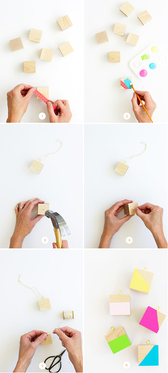 DIY Color Block Ornaments