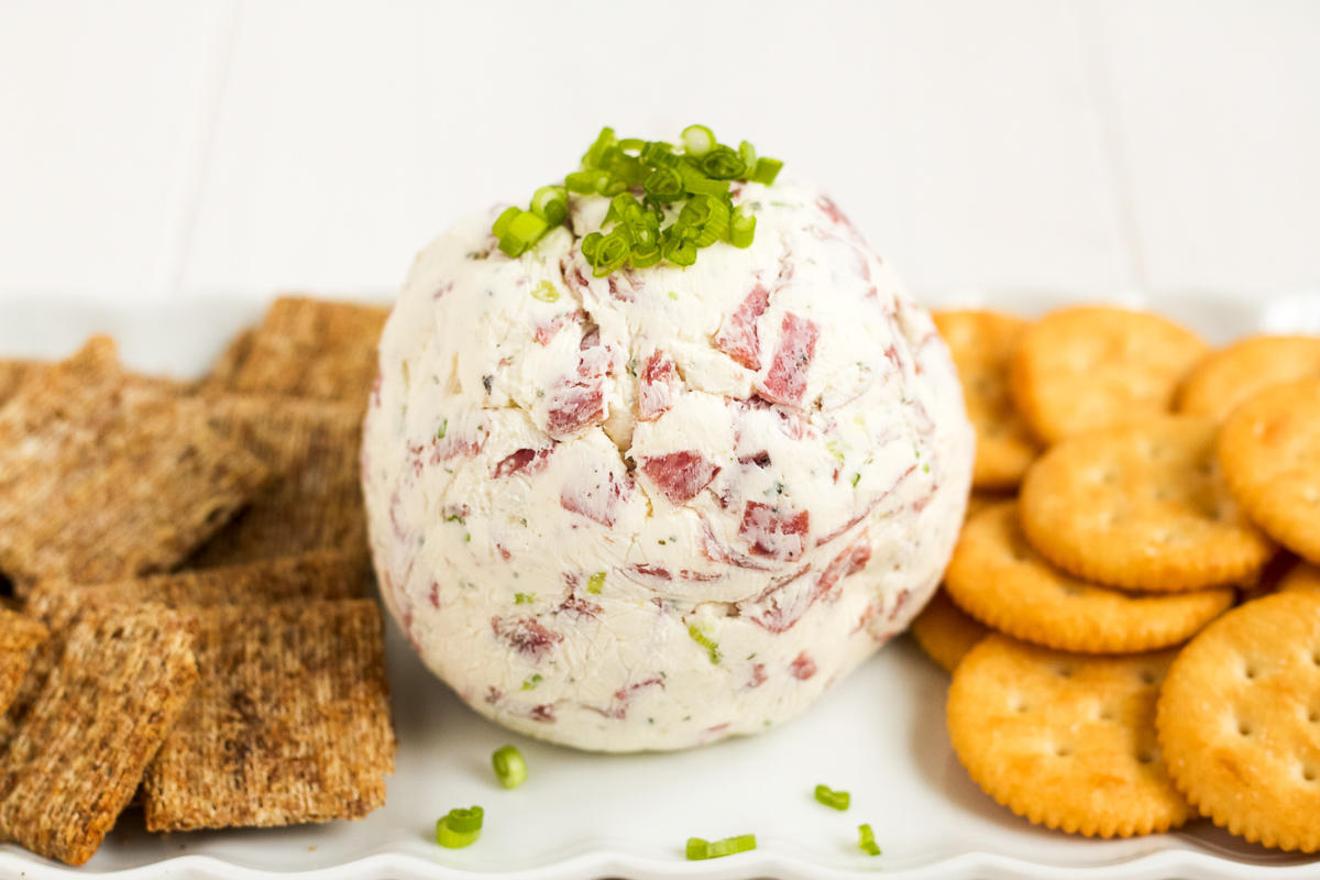 cheese ball with salami, ranch, and green onions