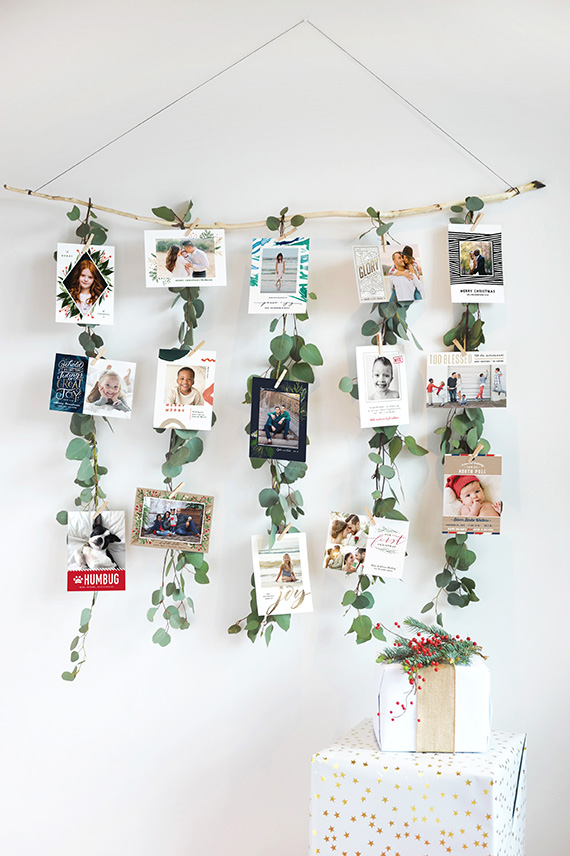 DIY Eucalyptus Garland Christmas Card Display Julep