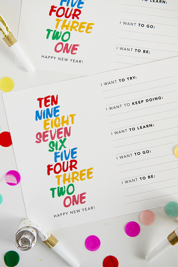 new year's resolutions free printable