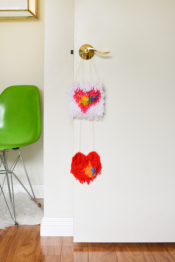 Latch Hook Heart Door Hangers for Valentine's Day