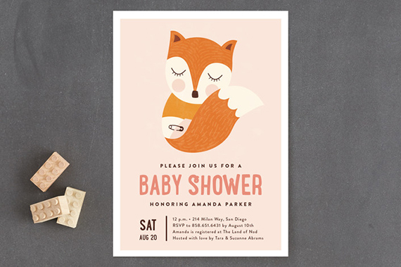 sleepy fox baby shower invitation by erica krystek